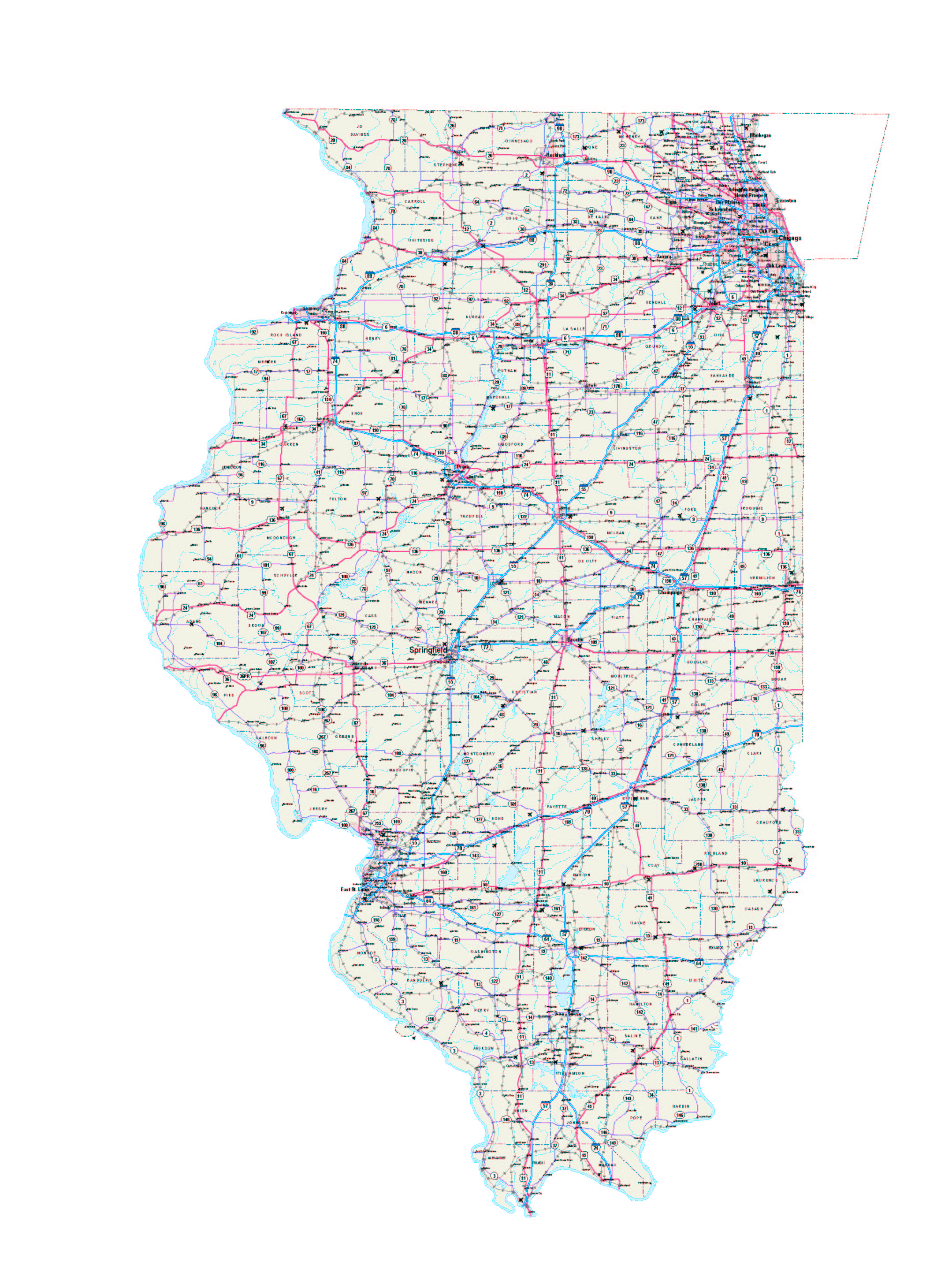 Southern Illinois Map With Cities.Illinois Maps Illinois Map Illinois Road Map Illinois State Map