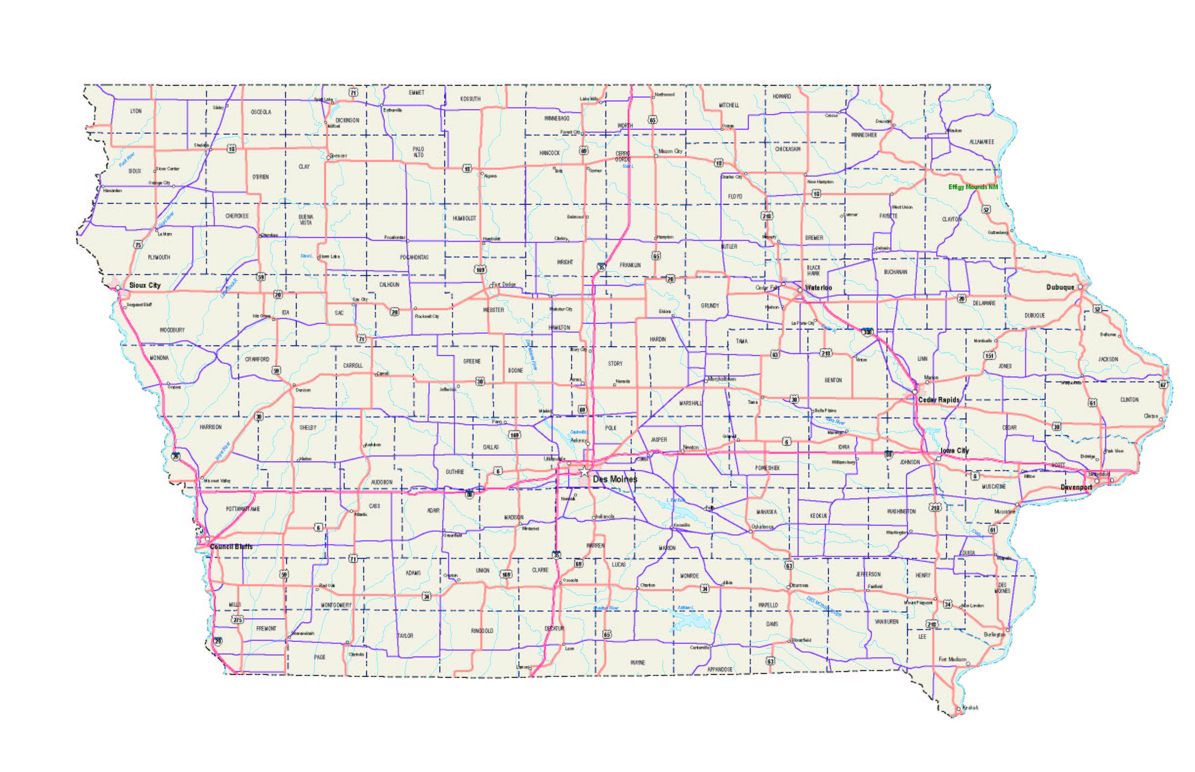 iowa maps - iowa map - iowa road map - iowa state map