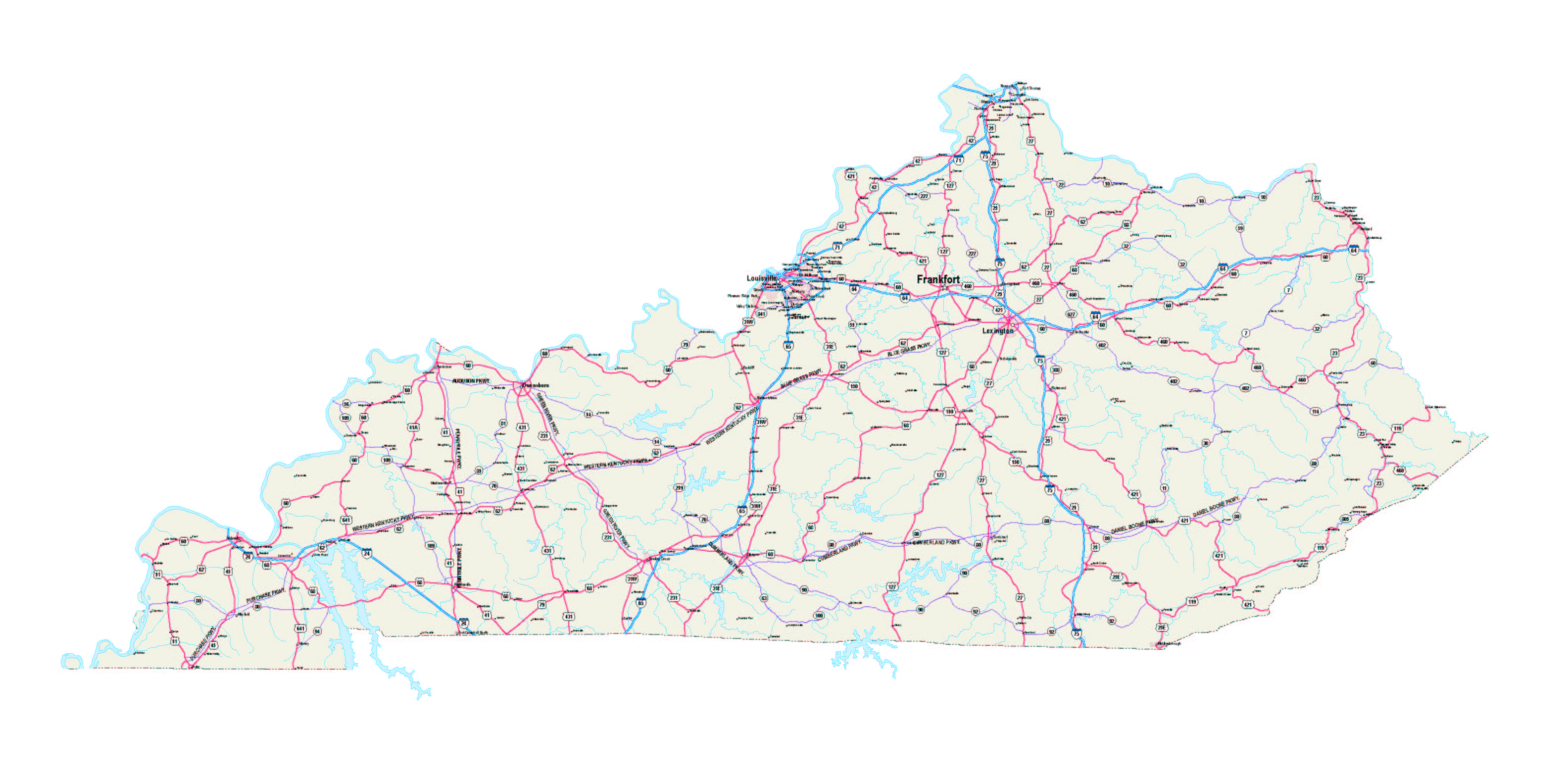 Kentucky Maps Kentucky Map Kentucky State Map Kentucky Road Map - Road map of kentucky