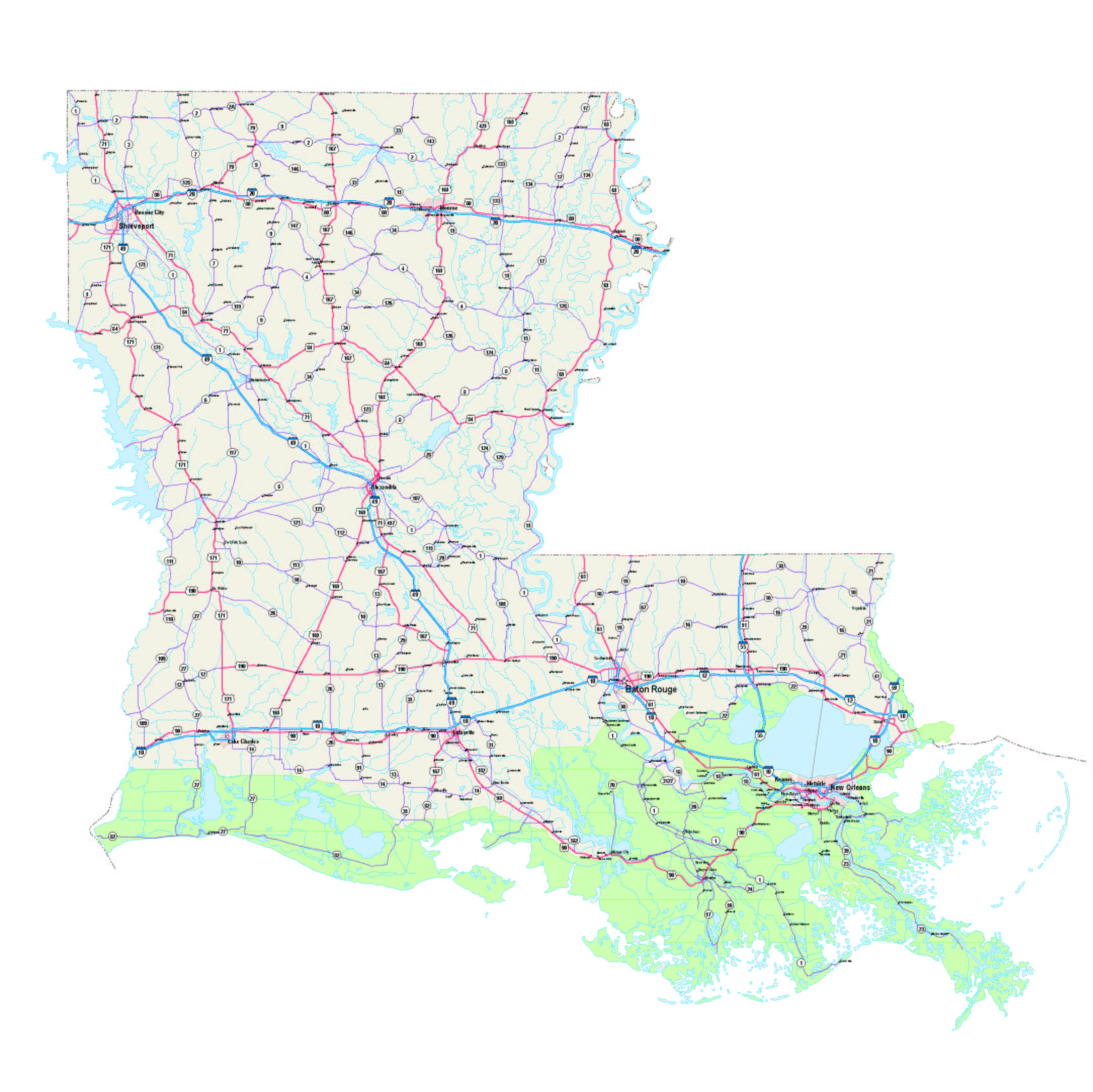 Louisiana Map - Louisiana Maps - Louisiana Road Map - Louisiana ...