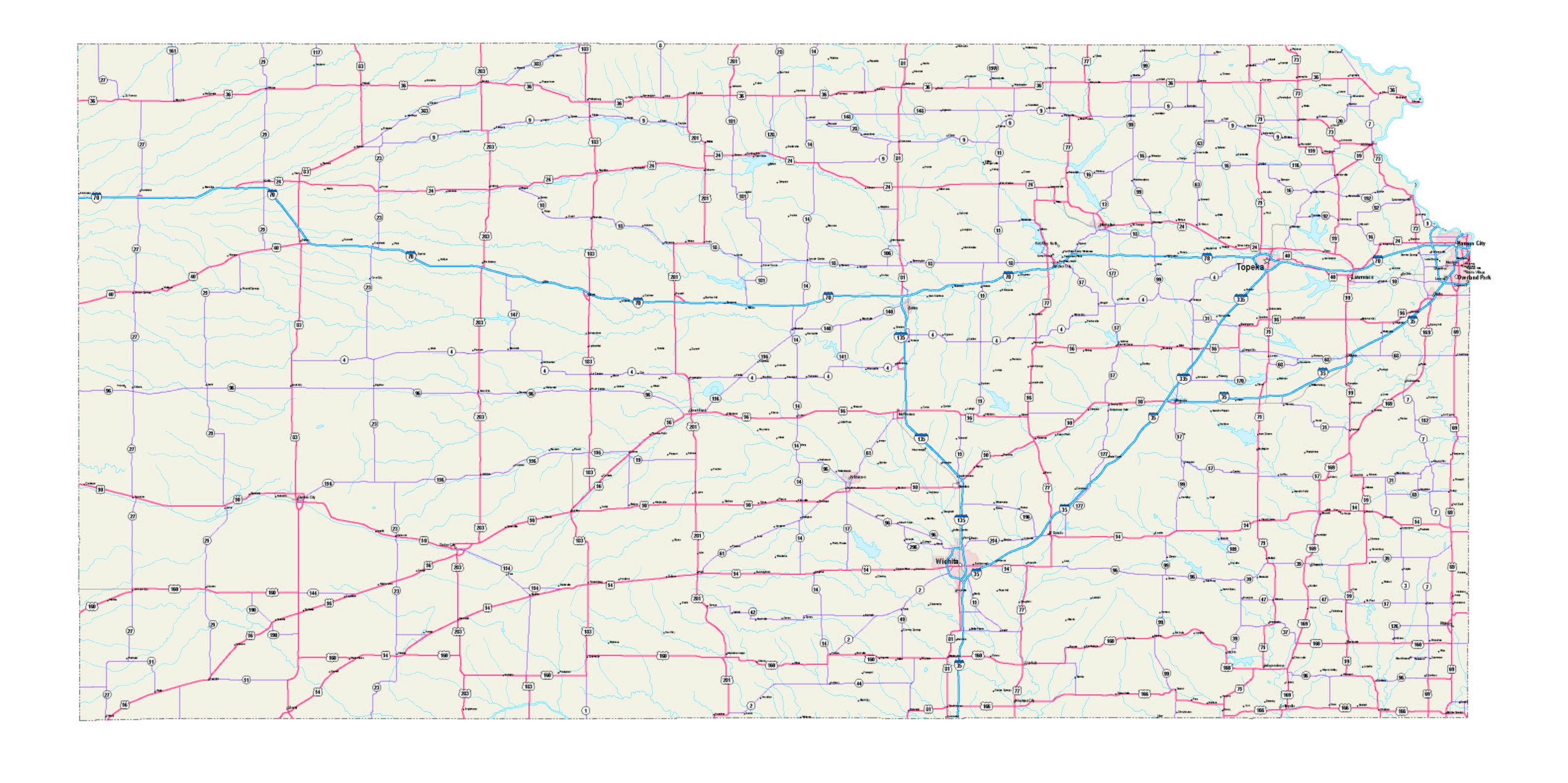 Road Map Of Kansas kansas maps   kansas map   kansas Road map   kansas state map